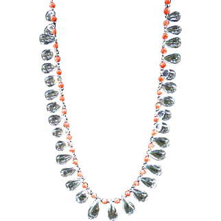 AAA Clear Crystal Rock Quartz and Coral 14k White Gold Necklace by Estrella