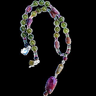 Tourmaline and Grossular Garnet Lariat Necklace By Estrella
