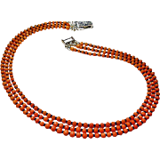 Three Strand Natural Mediterranean Coral Necklace By Estrella