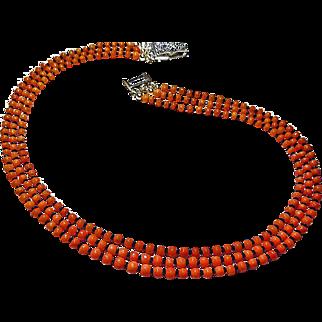 Three Strand Natural Mediterranean Coral Necklace By Estrella