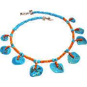 Sleeping Beauty Turquoise and Natural Coral Necklace By Estrella
