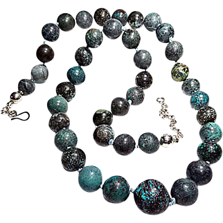 Long Old-Mined Natural Chinese Turquoise Necklace By Estrella