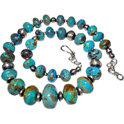 Large Natural Arizona Turquoise Necklace By Estrella