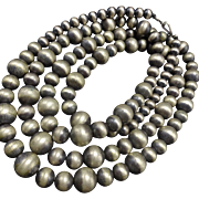 "Extra Long 62"" Single Strand of NAVAJO PEARLS Sterling Silver NECKLACE 231g"
