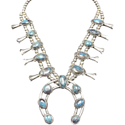 Classic Vintage NAVAJO Sterling Silver & BISBEE Turquoise SQUASH BLOSSOM Necklace