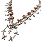 Vintage NAVAJO Sterling Silver & Coral SQUASH BLOSSOM Necklace Sand Cast Hearts