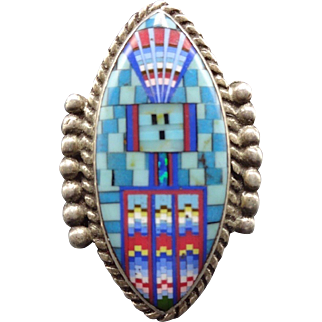 Signed DAVID FREELAND Jr Sterling Silver & Turquoise Micro Inlay RING, size 7.75