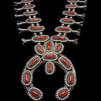 Impressive Vintage Navajo Sterling Silver & CORAL SQUASH BLOSSOM Necklace 332g
