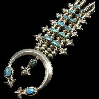Vintage Navajo Sand Cast Sterling Silver & Turquoise Squash BLOSSOM Necklace