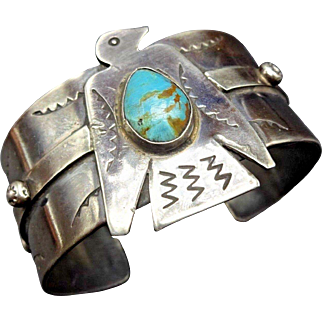 Vintage Navajo Sterling Silver & TURQUOISE THUNDERBIRD Cuff Bracelet 64g