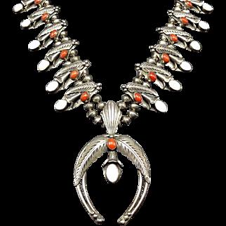 Lovely Signed Vintage Navajo Sterling Silver CORAL & MOP Squash Blossom NECKLACE
