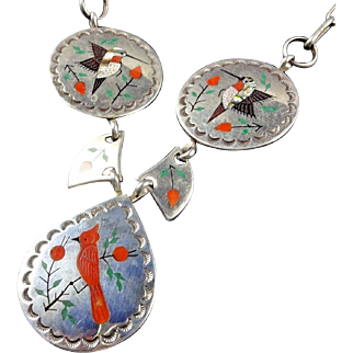 Signed Vintage Navajo Sterling Silver CORAL INLAY NECKLACE Hummingbird Cardinal