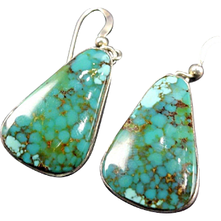 Signed Vintage Navajo Sterling Silver & WEBBED Pilot Mountain TURQUOISE EARRINGS