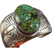 Signed Vintage NAVAJO Sterling Silver & Spiderweb TURQUOISE Cuff Bracelet