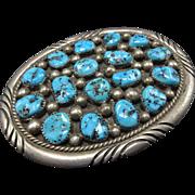 Signed Vintage NAVAJO Sterling Silver & Kingman Turquoise Cluster BELT BUCKLE