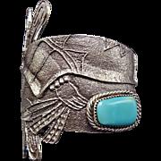 NAVAJO TUFA Cast Sterling Silver & Turquoise Cuff BRACELET Butterfly Kachina