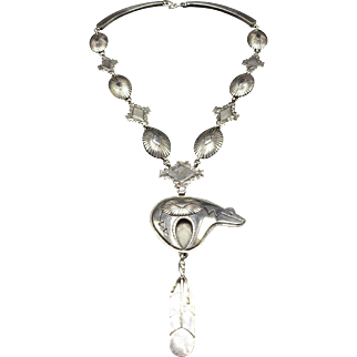Signed EDDIE CHACO Vintage NAVAJO Sterling Silver BEAR Fetish Necklace