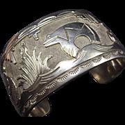 Signed Vintage NAVAJO Hand Stamped Sterling Silver Storyteller Cuff Bracelet