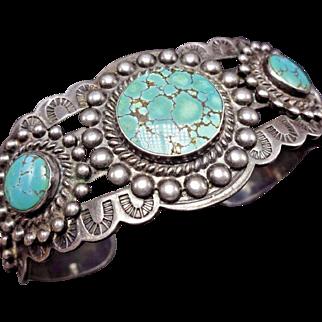 OLD Vintage NAVAJO Harvey Era Stamped Sterling Silver & Turquoise Cuff BRACELET