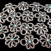 Vintage Navajo Sand Cast Sterling Silver & TURQUOISE Link BELT 303g