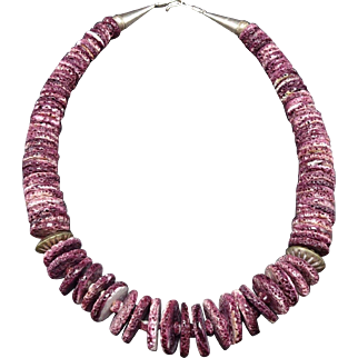 Massive KEWA Santo Domingo Sterling Silver & PURPLE Spiny Oyster Shell Necklace