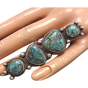 HUGE Vintage NAVAJO Sterling Silver & Natural Turquoise RING, size 5.5