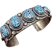 Signed NAVAJO Sterling Silver Kingman SPIDERWEB Turquoise Cuff BRACELET