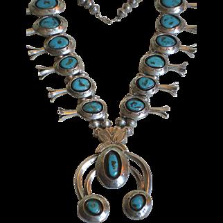 Vintage NAVAJO Sterling Silver & Blue Gem Turquoise Squash Blossom Necklace