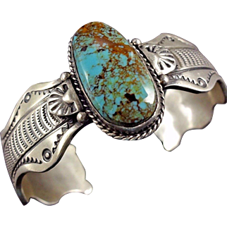 Signed Vintage NAVAJO Hand Stamped Sterling Silver & TURQUOISE Cuff BRACELET