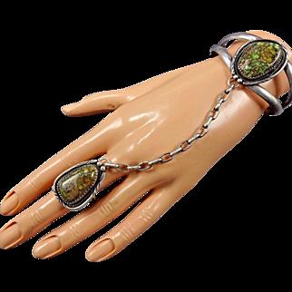 Vintage NAVAJO Sterling Silver & DAMELE TURQUOISE Slave Bracelet & Ring, sz 8.5