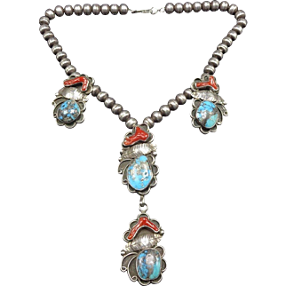 Signed Vintage NAVAJO Sterling Silver Branch CORAL & Morenci TURQUOISE Necklace