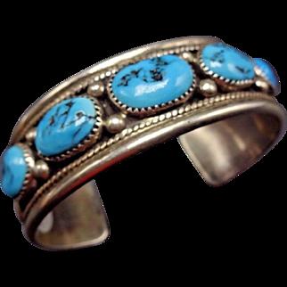 Signed Vintage NAVAJO Sterling Silver & Kingman Turquoise Cuff BRACELET 45g