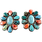 Vintage SOUTHWEST Sterling Silver Orange Spiny Oyster Shell & Turquoise Earrings