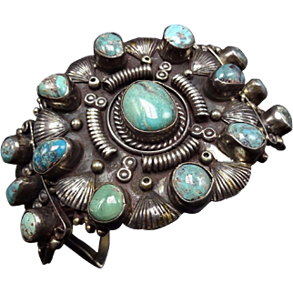 HEAVY Vintage Navajo Sterling Silver & TURQUOISE Cluster Cuff BRACELET 108g