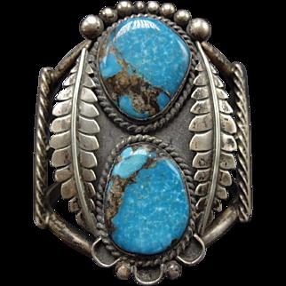 Signed Vintage NAVAJO Sterling Silver & Blue TURQUOISE Cuff BRACELET 68g