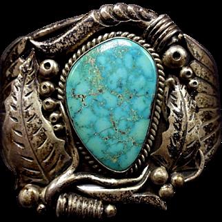 Signed Vintage Navajo Sterling Silver & #8 TURQUOISE Cuff BRACELET 47g