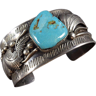 Heavy Signed Vintage Navajo Stamped Sterling Silver TURQUOISE Cuff BRACELET 92g