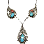 Vintage Navajo Sterling Silver Old Red Med CORAL & Kingman Turquoise Necklace