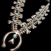 Vintage Navajo Sand Cast Sterling Silver TURQUOISE SQUASH BLOSSOM Necklace 195g