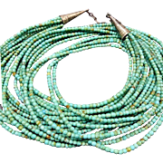 Vintage NAVAJO Sterling Silver End Cones & 10-Strands Turquoise Beads NECKLACE