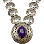 Vintage NAVAJO Hand Stamped Sterling Silver Pillow Beads & SUGILITE Necklace
