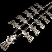 Spectacular Signed SEKAKUKU Vintage Hopi Sterling Silver Overlay NECKLACE