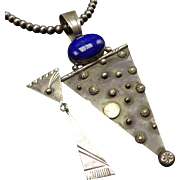 NAVAJO Sterling Silver & LAPIS LAZULI Night Blessings Necklace Shooting Star