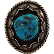 Heavy 41.8g Vintage NAVAJO Hand Stamped Sterling Silver & TURQUOISE RING, sz 9.5