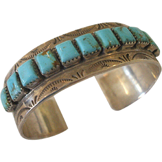 Signed Navajo Stamped Sterling Silver & Square Cabs of Turquoise CUFF BRACELET