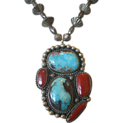 Exquisite Vintage NAVAJO Turquoise and Coral PENDANT with Fluted & Melon Sterling Silver Beads NECKLACE