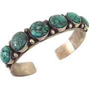 Signed Vintage NAVAJO Sterling Silver & TURQUOISE Cuff BRACELET Calvin Martinez