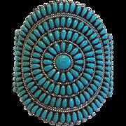 Vintage NAVAJO Phillip Byjoe Sterling Silver & TURQUOISE Cluster Cuff BRACELET