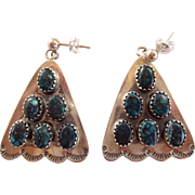 RARE Vintage NAVAJO Sterling Silver & LANDER Turquoise Cluster Pierced EARRINGS