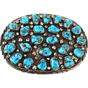 Heavy Signed Vintage NAVAJO Sterling Silver & Morenci Turquoise Cluster BUCKLE